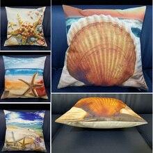 Mediterranean Sea Beach Style Printed Shells Starfish High Quality Cushion Cover Linen Cotton For Sofa Car Home Decor Pillowcase beach wave print linen sofa pillowcase