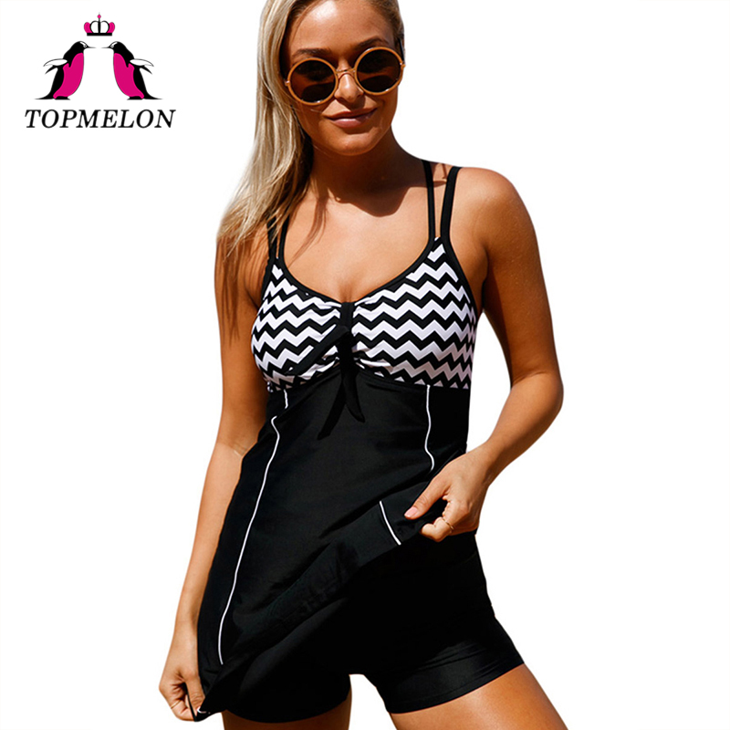 TOPMELON Swimwear Dress Women Plus Size Push Up 3XL Bikini Stripe Backless Criss Cross Bathing Suit Beachwear Swimsuit One Piece