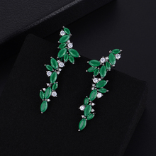 SisCathy 50*13mm Trendy Full Cubic Zirconia Stud Statement Earrings Dubai Indian Fashion Jewelry For Women boucle doreille