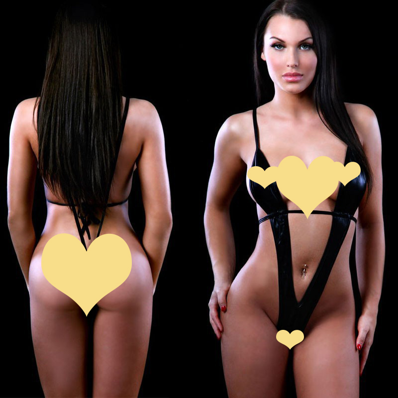 Buy 2016 Plus Size Women's Sexy Lingerie Hot Black Leather Erotic Lingerie Teddy Sexy Underwear Sexy Costumes Lenceria Sexy Lingerie