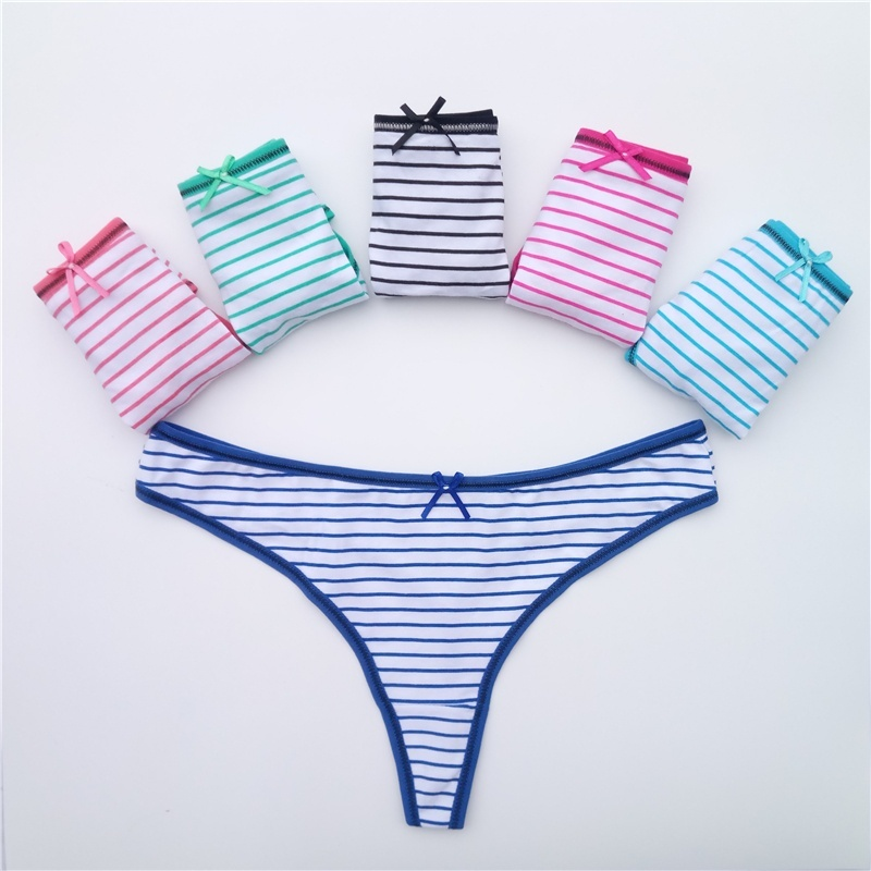 Cotton Women G-String Sexy Thong 5 Pcs/set   Panties   for Women Underwear Girls Ladies T-back Female Lingerie FUNCILAC
