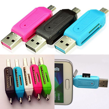 Micro USB OTG Card Reader Phổ USB TF/SD Đầu Đọc Thẻ Mở Rộng Điện Thoại Tiêu Đề Micro SD Card Adapter cho android PC 2in1