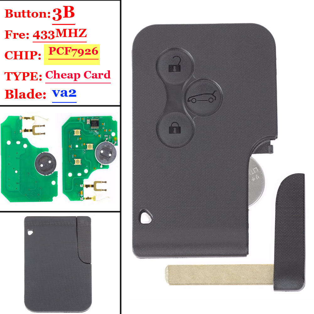 New 3 Button 433Mhz PCF7926 Chip With Emergency Insert Blade Smart Remote Key For Renault Megane Scenic 2003-2008 Card(1 Piece)