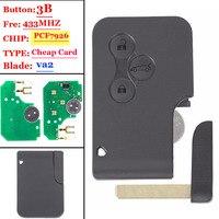 Novo 3 botão 433 mhz pcf7926 chip com lâmina de inserção de emergência chave remota inteligente para renault megane scenic 2003 2008 cartão (1 peça)|Sensor e detector| |  -
