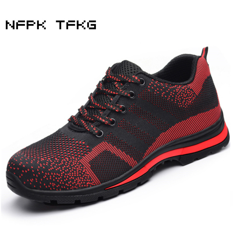 plus size breathable steel toe cap working safety shoes men mesh comfort outdoors summer security boots site protective footwear plus size men breathable dress shoe steel toe caps work safety summer shoes womens plate sole outdoors tooling low boots leather