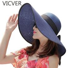 New Arrival Large Wide Brim Straw Hat Round Top Summer Sun Hats For Women Beach Cap Leisure Ribbon Caps Lady UV Protect