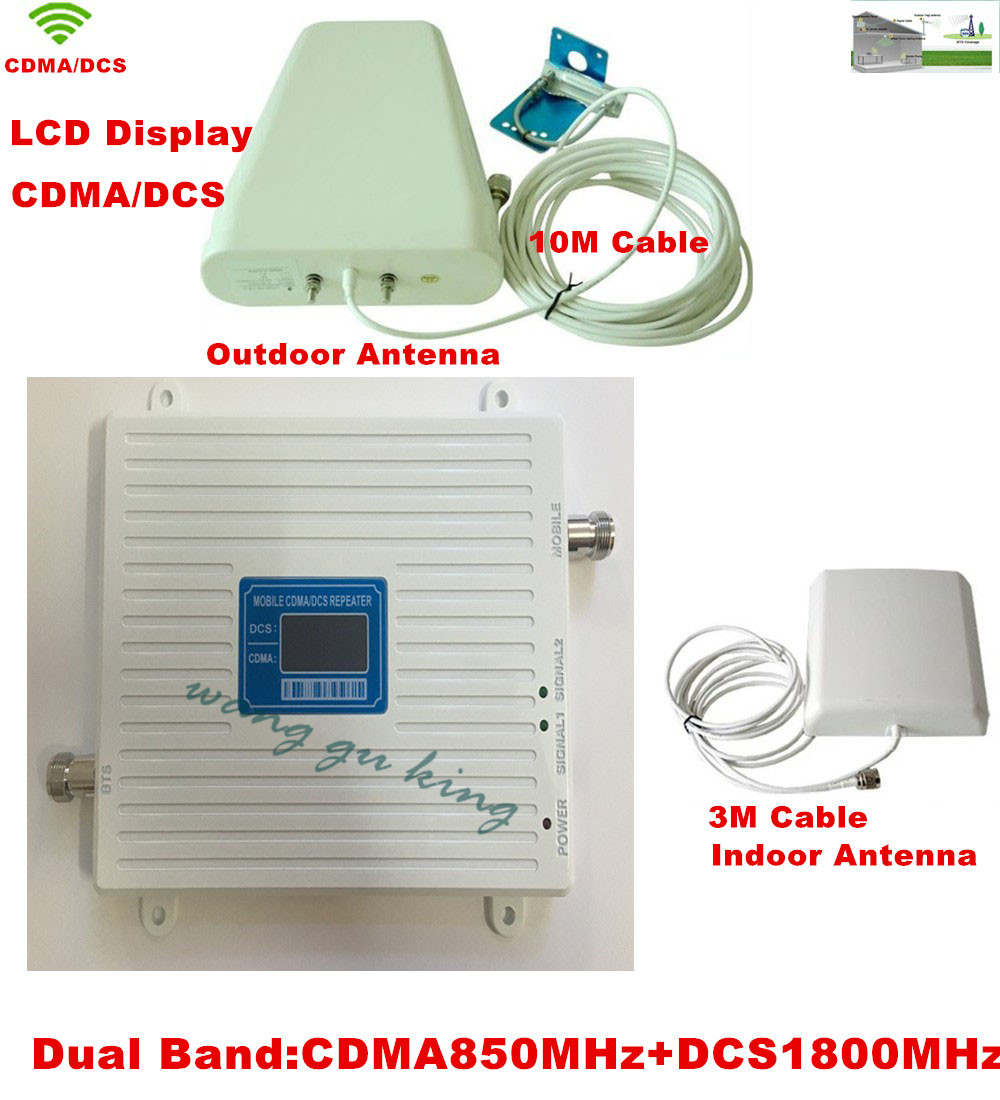 2017 New 65dB High Gain 850 1800 MHz Dual Band Cell Mobile Phone Signal Booster Amplifier,GSM CDMA DCS Cellular Signal Repeater