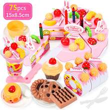 38-75PCS DIY Cake Toy Kitchen Food Cocina De Juguete Pretend Play Cutting Fruit Birthday Toys Pink For Kid Educational Gift 2019