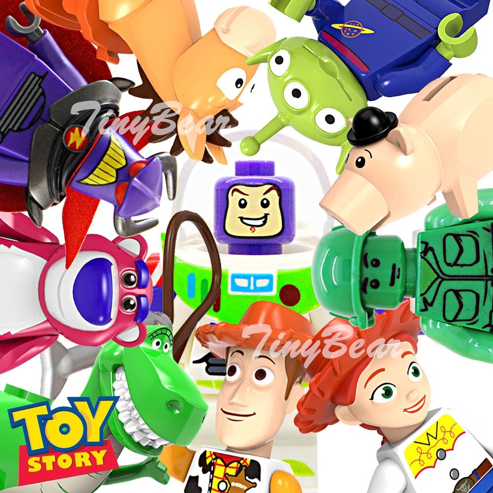 2019 New Toy Story 4 Figures Woody Forky Buzz Lightyear Jessie Ducky Bo Peep Alien Cartoon Building Blocks Friends Sets Toys 3