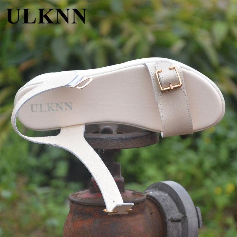 ULKN women Open Toe Platform Sandals women casual shoes Nwomen sandals PU Leather flat Sandals Low Wedges Summer Shoes 6