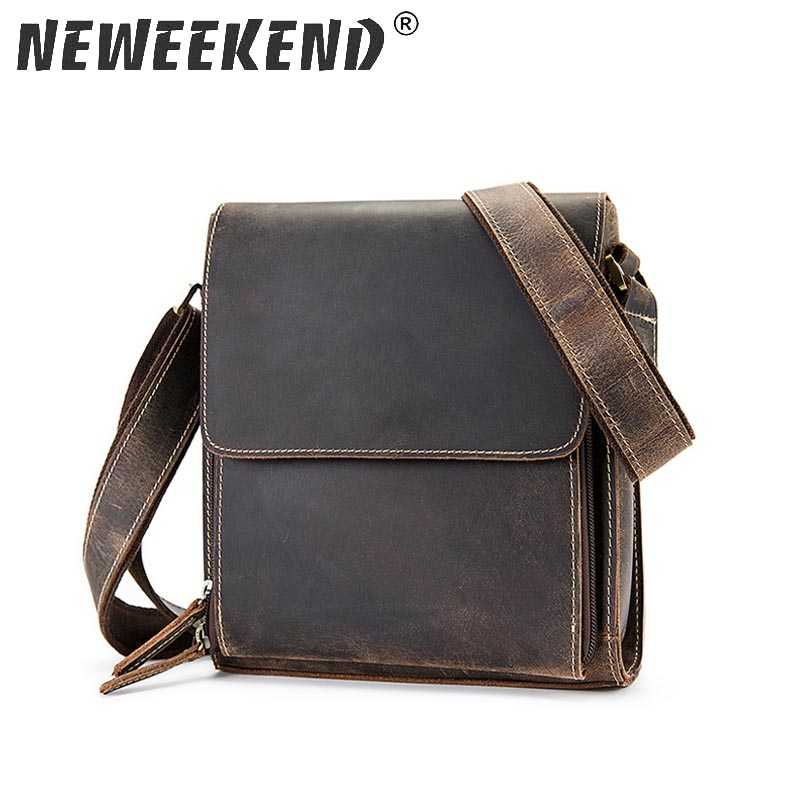 Crazy Horse Genuine Leather Men S Bags Crossbody Bags Zipper Vintage Messenger Bag Men S Shoulder