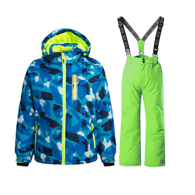 2017 new big brand boys/girls ski suit waterproof windproof snow pants+jacket a Set of Winter Sports Child Thickened Clothes