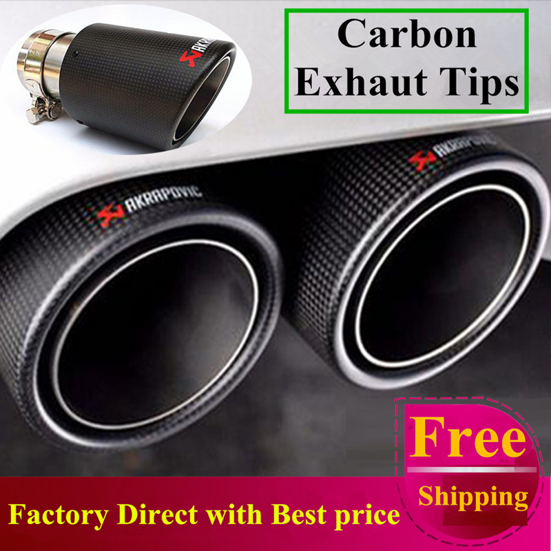 Free Shipping 1 Pair Multi Inlet 63 To Outlet 101mm Akrapovic Carbon Tip Exhaust Pipe End