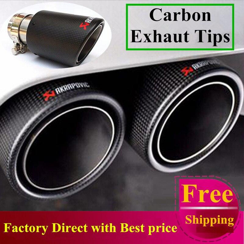 Frete Grátis: 1 par Multi 63 da Entrada Para A Saída de 101mm Ponta De Carbono Tubos de Extremidade do Tubo de Escape Akrapovic AK Dicas de Escape de Carbono silenciador