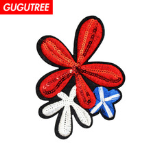 GUGUTREE embroidery Sequins big Lucky patches flower badges applique for clothing XC-427