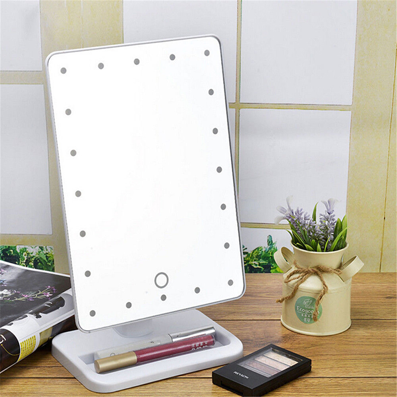 1Pcs LED Tabletop Makeup Mirror 20 LED Touch Screen 180 Degree Free  Rotation Tabletop LED Lighted Makeup Mirror #86232 In Makeup Mirrors From  Beauty ...