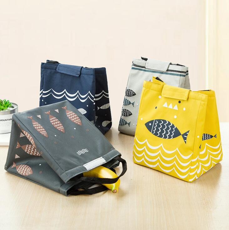 Hot Sales! Waterproof Oxford Tote Lunch Bag Large Capacity Thermal Food Picnic Lunch Bags for Women kid Men Fish Pattern