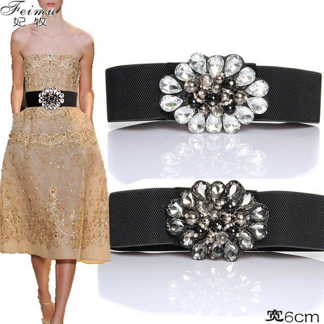 2016 Luxury Flower Rhinestone Bridal Belts For Women Elastic Wide Evening Party Dress Fashion Accessories vestido de novia PF15