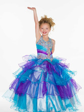 2019 New Arrival High Quality Halter Zipper Back Ball Gown Organza Crystal Beaded Lovely Flower Girls Dresses Pageant Dr