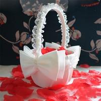 Zilue 1pieces 22.5mX14.5cm Romantic big Satin Burlap Bow white lace Flower Basket Flower Girls wedding decoration Party Supplies