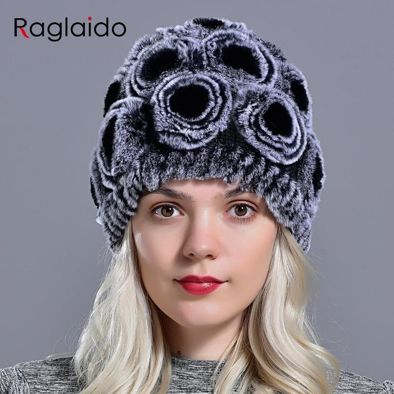 Modne cvetlične zimske kape za dekleta resnično krzno pletena kapa trenutna ženstvenost Rex krzno klobuk zajec Beanies pletenice klobuki LQ11168