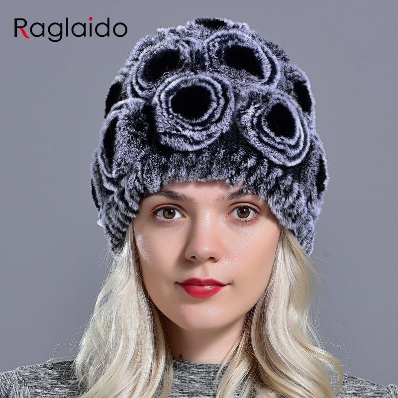 Fashion Floral Winter Caps for Girls Real Fur Knitting Cap Current Femininity Rex Fur Hat Rabbit Beanies Braid Hats LQ11168