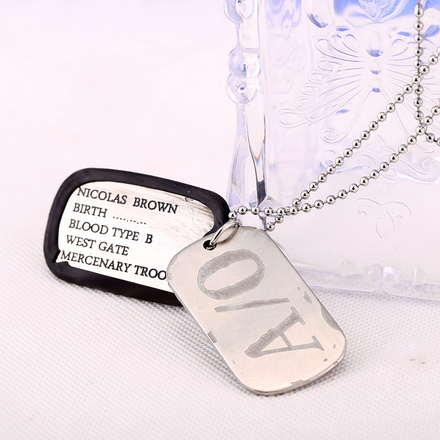 GANGSTA Nicolas Brown dog tags Necklace Alloy Charm Pendant Cosplay Accessories Jewelry Gift