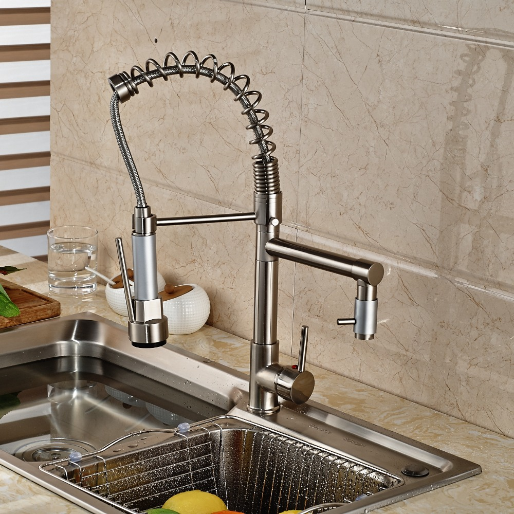 Newly Brushed Nickle Kitchen Faucet Single Hole Mixer Faucet Pull-Down Spout Tap free shipping low price promotion brushed nickle solid brass spring kitchen faucet two spouts pull deck mount mixer faucet zr659