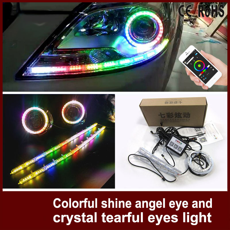 1 Set Car Headlight APP Control Lampshades Bright RGB Auto LED DRL Shine Angel Eye and Crystal Flow Tear Eyes For Mercedes Benz