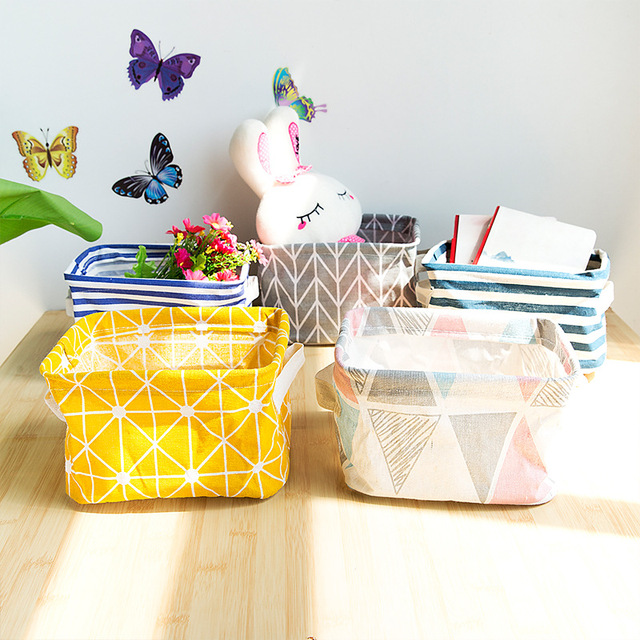 Cute Linen Home Storage Box Desk Organizer Office Folding Yellow Storage Basket Jewelry Cosmetic Makeup Snacks Toys Container