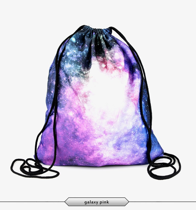 2015 new fashion escolar backpack 3d print galaxy pink softback women  mochila feminina harajuku drawstring bag unisex backpacks-in Backpacks from  Luggage ...
