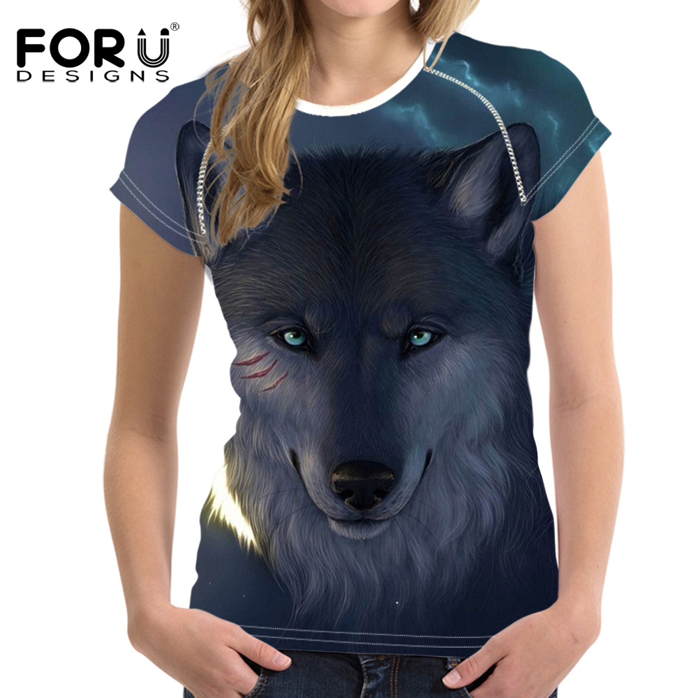 FORUDESIGNS Stilvolle 3D Tiger Muster Frauen Casual T Shirts Tops - Damenbekleidung - Foto 5