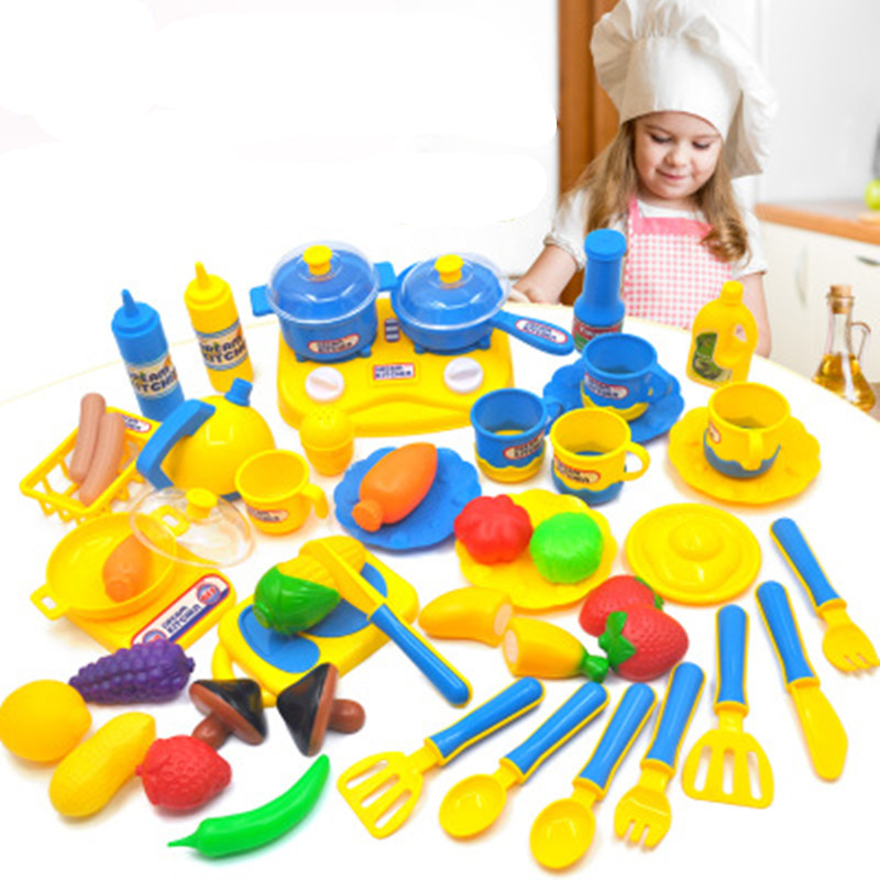 [Bainily]46PC Kitchen Simulation Cutting Fruits Vegetables Food Plastic Toy Pretend Food Cutting Diversity Food sets for Kids
