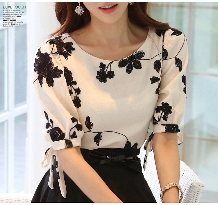 2015 Summer Ladies Vestidos Retro Flower Print Chiffon   Shirt   chiffon floral   blouse   Women short Sleeve Casual Brand Tops S0385