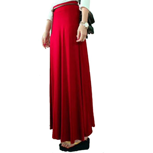Falda larga básica mujer negro elástico cintura Jersey faldas largas 2018  Bohemia nueva moda Casual Delgado 36a734917a01