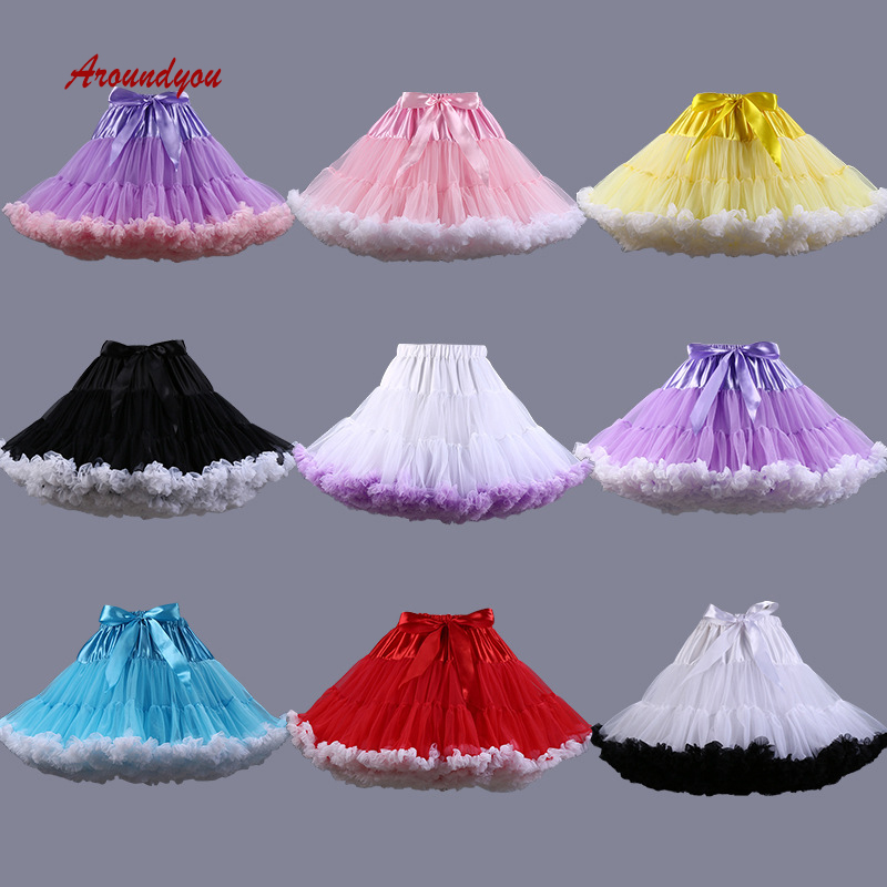 Colored Girl Lolita Petticoat Skirt Rockabilly Tutu Underskirt Wedding Woman Crinoline Pettycoat