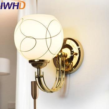 IWHD Glass Arandela  LED Wall Lamp Modern Iron Wall Light Fixtures Luminaire On The Wall Sconce Home Lighting Stairs Wandlamp