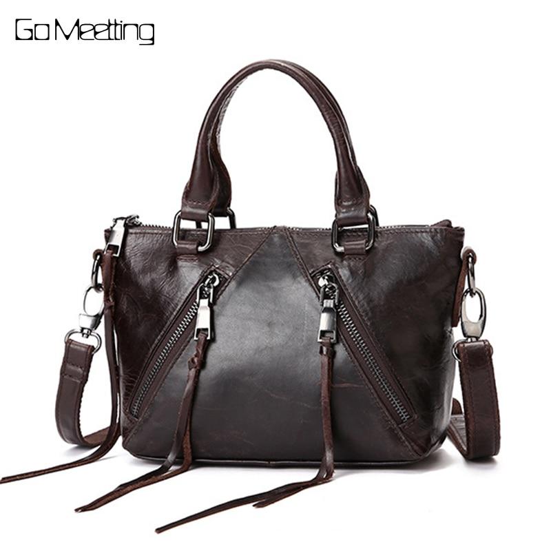 купить New Genuine leather Women shoulder bags Wax oil skin leather ladies Crossbody bag handbags retro oblique Messenger Bags по цене 2556.71 рублей