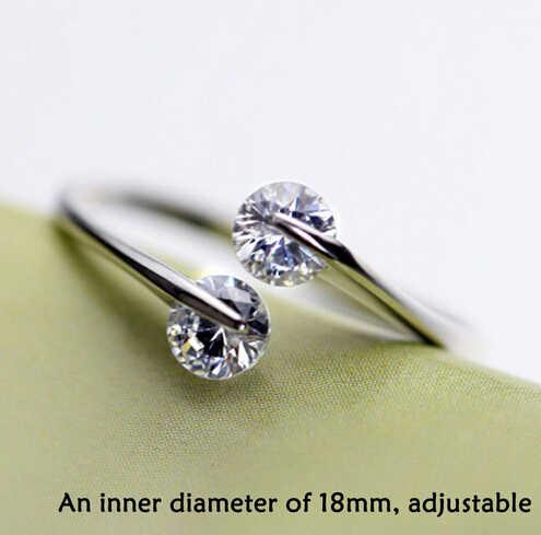 Anenjery 925 Sterling Silver Twin Zircon แหวนหมั้นสำหรับผู้หญิง Anillos แหวนเปิดเครื่องประดับงานแต่งงาน S-R41