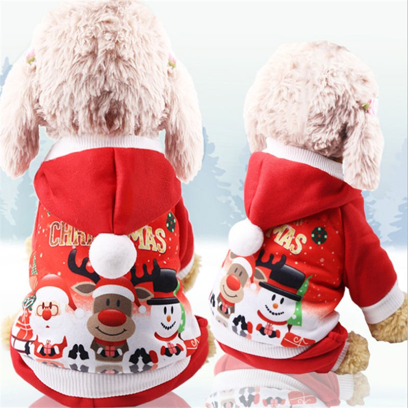 Christmas dog pet jacket for clothing cartoon soft Puppy Cat