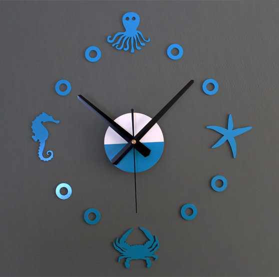 2016 NEW!Creative marine life mute DIY wall sticler clock ...