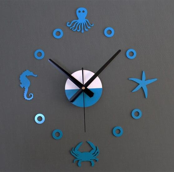 Creative Marine Life Mute Diy Wall Sticler Clock Sea Watch