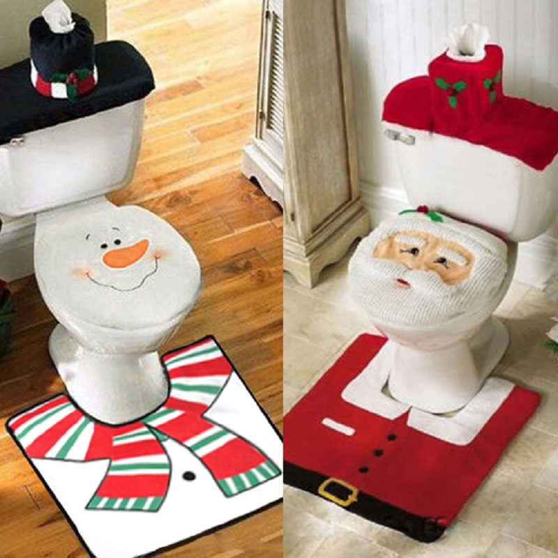Toilette Modern And Art Day Christmas Beatrice Holiday Toilet Seat Cover Rug 2 Piece Set Decorations