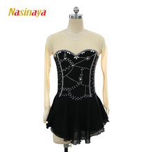 customized clothes ice figure skating dress rhythmic gymnastics black adult child girl skirt performance rhinestone customized costume ice figure skating dress gymnastics competition white adult child performance blue rhinestone sleeveless