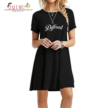 2QIMU 2019 Letter Pattern Fashion Summer Womens Knee-Length Dress Casual O-Neck Short Sleeved A -Line Vestidos Sexy
