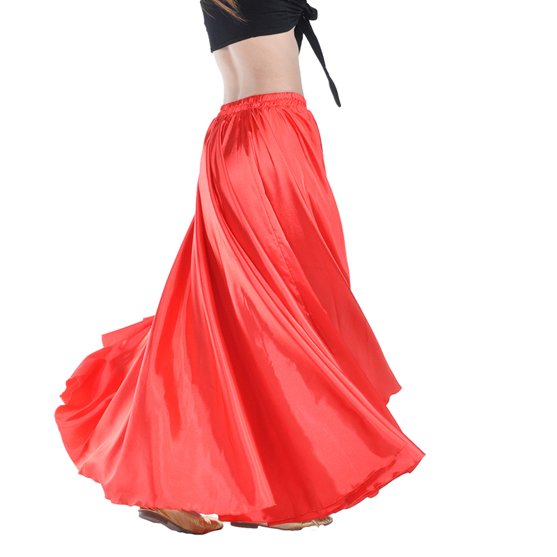 16 Colors Professional Women Belly Dancing Clothes Full Circle Satin Skirts Flamenco Skirts Plus Size Belly Dance Skirt