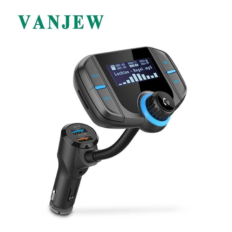 VANJEW BT70 Car Bluetooth FM Transmitter Modulator Transmiter 2 USB Charger QC3.0 Handsfree Audio MP3 Player AUX SD USB Flash