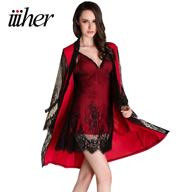a4b06915ed iiiher Lingerie Women Sexy Set Pajamas And Robe Sets Nightwear Dress Silk  Robe Ladies Sleepwear Nightgown