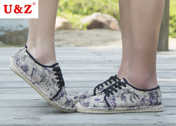 ФОТО Fashion New Male Flowers Style Canvas Espadrilles lace up Casual shoes,Lovers' shoes Morning glory Flats shoes driving shoes