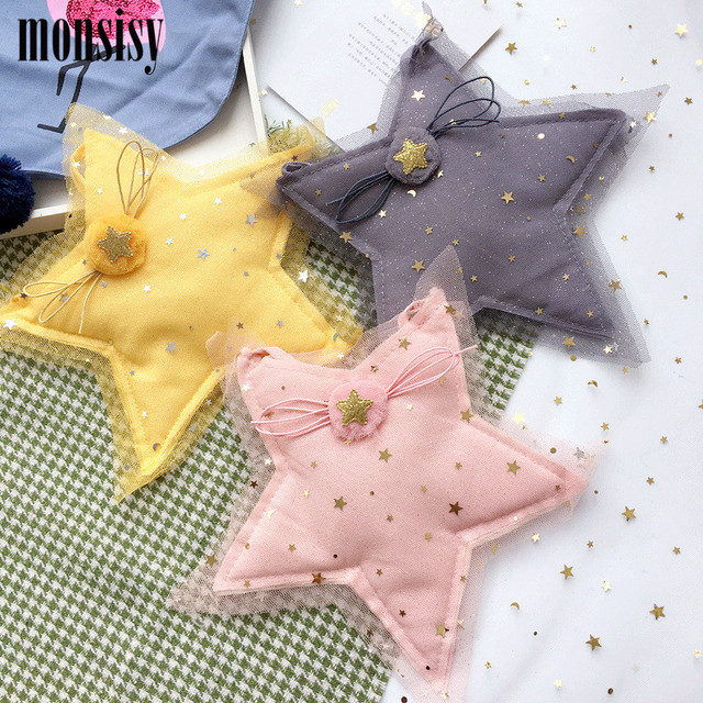 Monsisy Lolita Girl Lace Star Coin Purse Children's Wallet Small Change Purse Kid Money Bag Coin Pouch Cute Cotton Baby Handbag